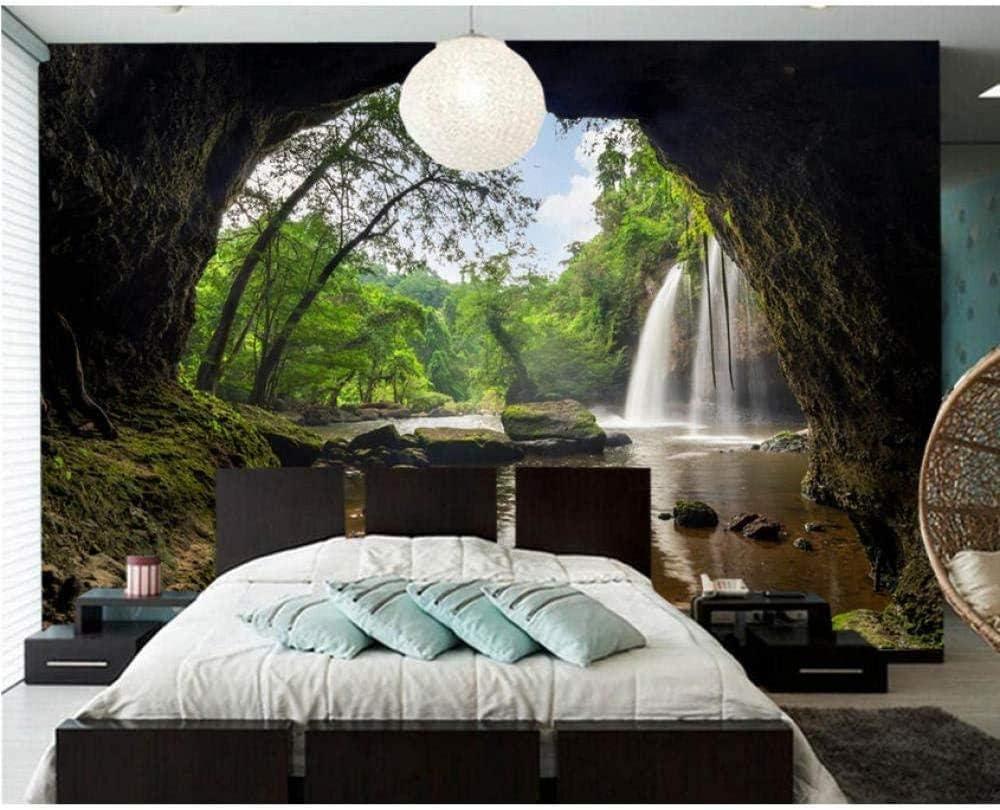3D Cheap mail order sales Mural Wallpaper Park Waterfalls Photo Moss Denver Mall Nature Cave Stones