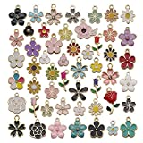 WOCRAFT 100 Pcs Assorted Gold Plated Mixed Enamel Flower Charms for Jewelry Making Necklace Bracelet Earring (M304)