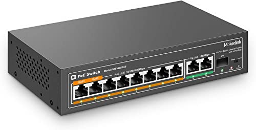 mokerlink 11 Ports PoE Gigabit Switch avec 8 Ports PoE+, 2 Gigabit Uplink, 1 SFP Port, Détection AI 120W, Qos, Commut...