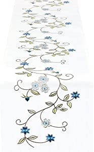 Simhomsen Double Thickness Rustic Embroidered Floral Table Runners for Spring and Summer, Dresser Scarf (Blue, 14 × 70 Inch)