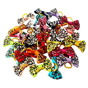 JpGdn 60pcs/(30pairs) Small Dogs Hair Bows with LeopardPrint Hair Bow Ties with Rubber Band Bowknot for Puppy Doggy Small and Medium Animals Hair Grooming Accessories