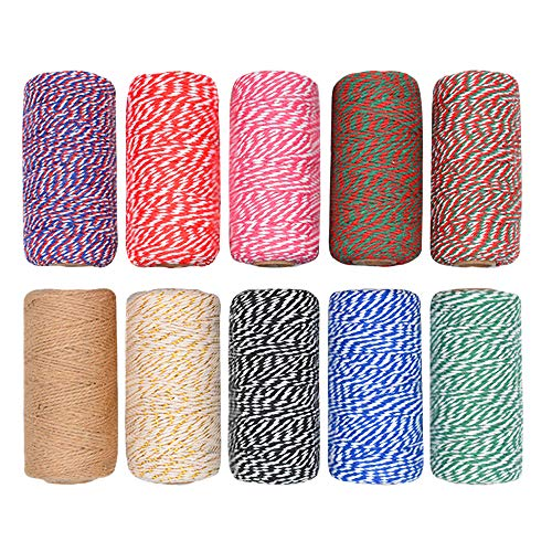 CUGBO 10 Rolls 1000 Yard Bakers Twine, 2mm Cotton Colorful Packing Hanging String for Kitchen Cooking, Tying Cake and Pastry Boxes, DIY Arts Crafts and Christmas Gifts Wrapping