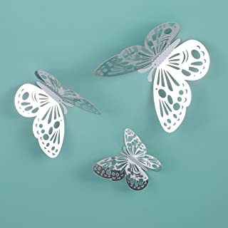 Goolsky 12pcs/set 3D Butterfly Wall Stickers Hollow Removable Mural Stickers DIY Art Wall Decals Decor with Glue for Bedro...