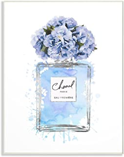 Stupell Industries Blue Flowers Perfume Bottle Watercolor Wall Plaque, 10 x 15, Multi-Color