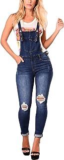 3e661e863c3 GOSOPIN Women Juniors Fitted Distressed Denim Jeans Stretch Overalls  Jumpsuits