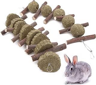 Winterworm 2 piezas conejo hámster masticar juguetes para dientes, manzana natural palitos de césped bola mascota dientes moler juguetes pequeños mascotas accesorios para chinchilla Guinea cerdos