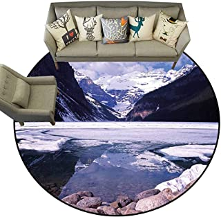 Hedda Clare Distressed Style Circular Rug,Winter,Lake Louise Alberta Canada Tourist Attraction Landscape Mountains Travel Vacation,Living Room Bedroom Office Soft Carpet Floor Mat5 feet