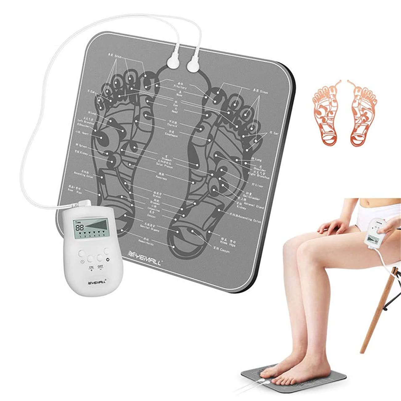 申請中折スタウト充電式EMSインテリジェントフットマッサージ機折り畳み式のリモートコントロール足の筋肉刺激は、血液循環を促進します,銀