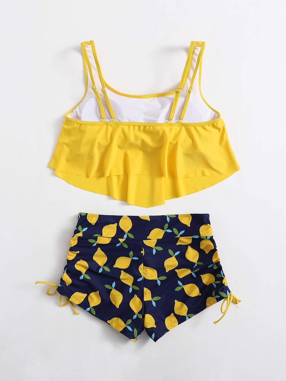 WDIRARA Women's Plus Lemon Print Hanky Hem Bikini Swimsuit