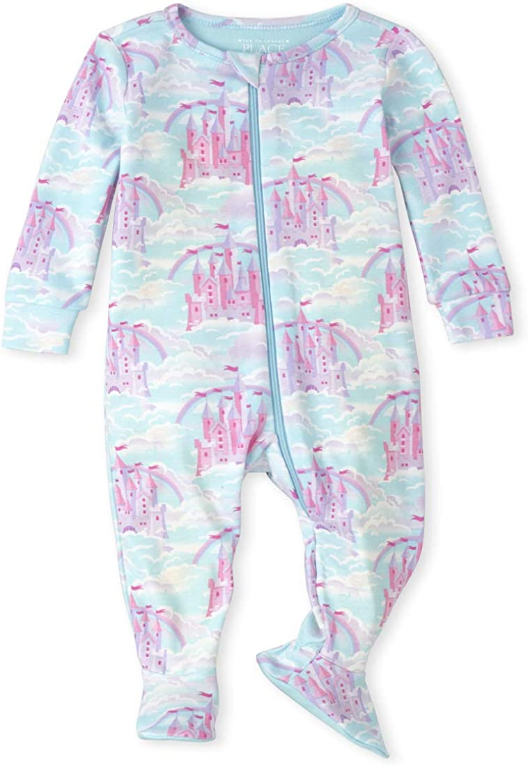 The Children's Place Girls' Baby and Toddler Castle Snug Fit Cotton One Piece Pajamas