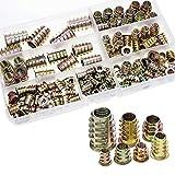 Gobesty 120 Piezas de Tornillo de Socket Hexagonal de Mueble de Aleación Zinc M4/ M5/ M6/ M8/ M10 Insertos de Rosca Kit de Herramienta de Surtido de Tuercas para Mueble de Madera (7 Tamaños)