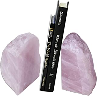 AMOYSTONE Rose Quartz Crystals Bookends Pair for Book Office Home Pink 3-4 Lbs