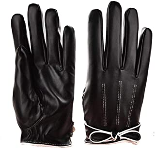 WUXiaodanDan Women's bow gloves autumn and winter plus velvet warm touch screen gloves waterproof leather gloves