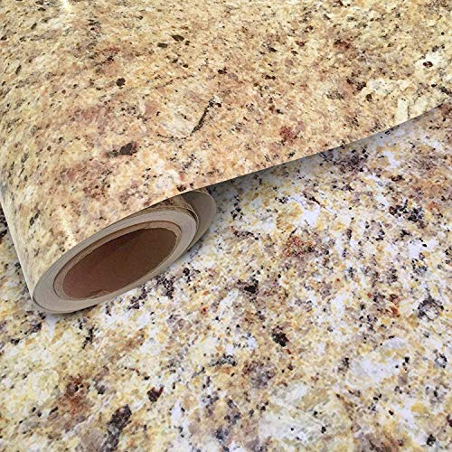"Instant Granite Counter Top Self-adhesive Vinyl Laminate Sheets, Great As Kitchen, Wall, Bathroom, Cabinet, Shelf Covers (36"" x 72"" Inches, Faux Marble In Venetian Gold/Santa Cecilia)"