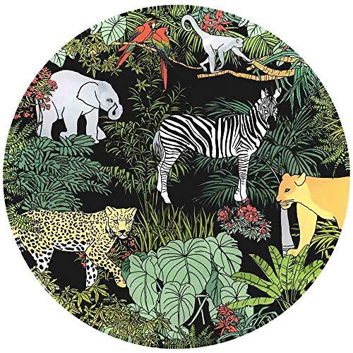 Les Jardins de la Comtesse - Grande Assiette en Verre Trempé thème Jungle - Très Résistante - 29,5 cm - sous-Assiette - Fond Noir - Convient Aux Tables d'Extérieur et d'Intérieur
