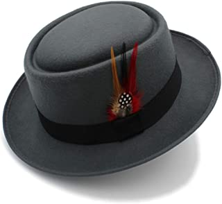 LiJuan Shen Women Men Wool Pork Pie Hat With Feather Wool Flat Flat Fedora Hat Panama Hat