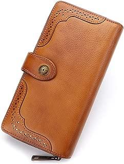 Women Wallet Genuine Leather Long Purse Zip Around Vintage Cowhide Handmade Clutch Card Holder Organizer