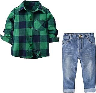Christmas Little Boys Clothes Set 2pcs Long Sleeve Plaid Shirt Denim Pants Jeans Set Infant Boy Winter Casual Outfit Set