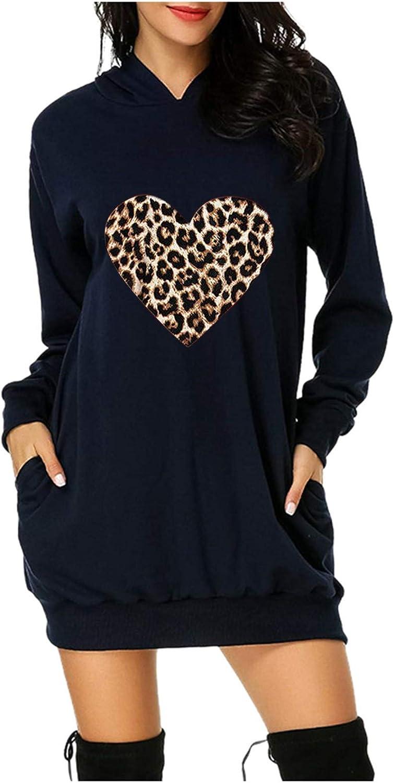 Women's Leopard Love Printed Long Hoodie Sweatshirt Casual Long Sleeve Pullover Hoodie Dress with Pockets