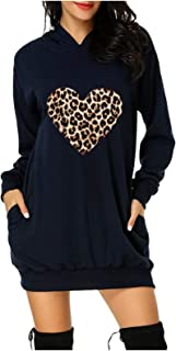 Long Sleeve Dresses for Womens Leoaprd Heart Printed Hoodie Dress Tunic Sweatshirt Tops Mini Dress with Pockets