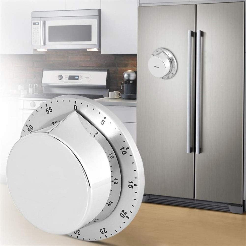 Digitaler Timer Edelstahl-Küche-Timer mit Magnetfuß Manuellem mechanischem Koch Countdown Kochen Werkzeug Wecker (Color : Silver) Silver
