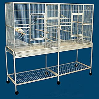 Mcage Large Double Flight Bird Wrought Iron Double Cage w/Slide Out Divider 3 Levels Bird Parrot Cage Cockatiel Conure Bird Cage 63