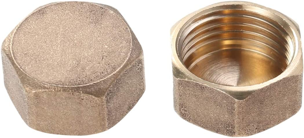 2pcs Compression Fitting Brass Large special Outstanding price Cap Blank 15g Nut