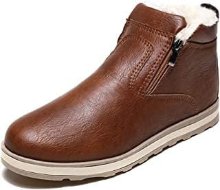 KINDOYO Men's Winter Ankle Boots - Fashion Plus Cotton Fur Lined Warm Boots