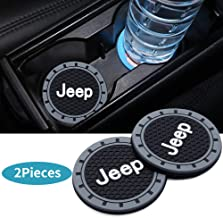 HEY KAULOR 2Pcs 3 inch Vehicle Travel Auto Cup Holder Insert Coaster Mat for Jeep Grand Cherokee Wrangler Compass Cherokee Renegade Patriot Grand Comander Decoration,etc All Models