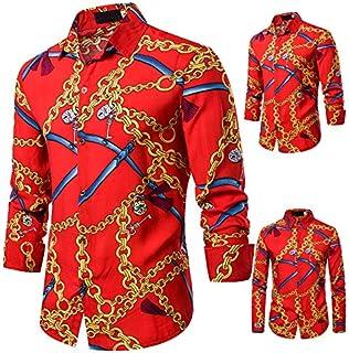 Men's Luxury Fashion Shirt Printed Silk Like Satin Long Sleeve Button Down Shirt Dress Shirt for Party Prom