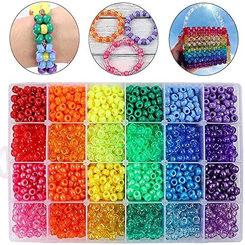 Quefe 2880pcs Rainbow Beads Plastic Beads Large Hole Beads 6 x 9mm 24 Colors 4...