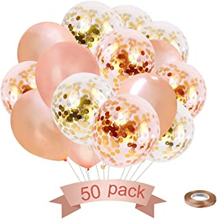 Rose Gold Confetti Balloons 50 Pack, Balloons for Parties 12 Inch Latex Party Balloons for Baby & Bridal Shower Birthday Party Decorations Weddings Engagements