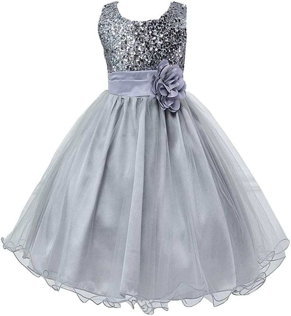 Girls Prom Ball Gowns Sequin Mesh Tulle Dress Wedding Party Dresses for 2-10 Years