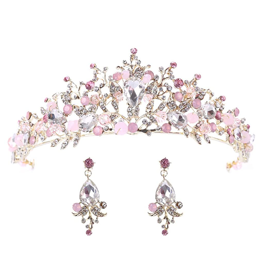 CanB Wedding Flower Crowns and Tiaras with Earrings Baroque Bridal Crystal Hair Accessories for Women