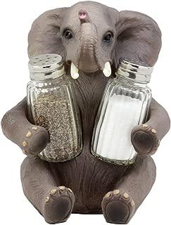 Ebros Gift African Bush Elephant Glass Salt & Pepper Shakers Holder Figurine Decor 7