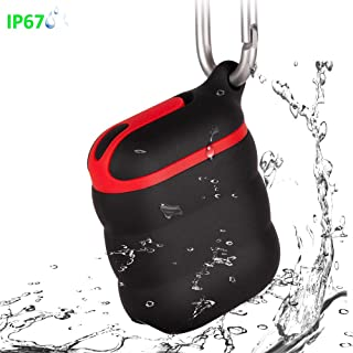 Ulife Silicone Waterproof Shockproof Protective Case for Apple AirPods 1/2, LED Light Visible (Black&Red)