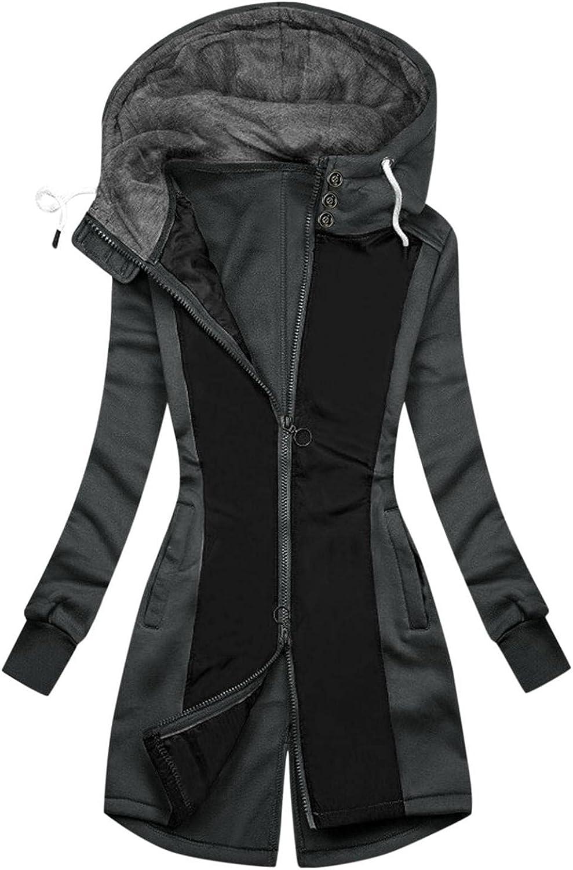 FABIURT Zip Up Sweatshirt for Women,Womens Fashion Color Block Hoodie Long Sleeve Hooded Sweatshirt Pockets Jacket Coat
