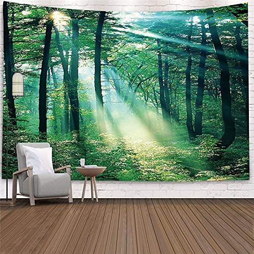 Tapiz de paisaje de plantas de bosque paisaje natural colgante de pared impresión tapiz de pared grande decoración de arte A8 130x150cm