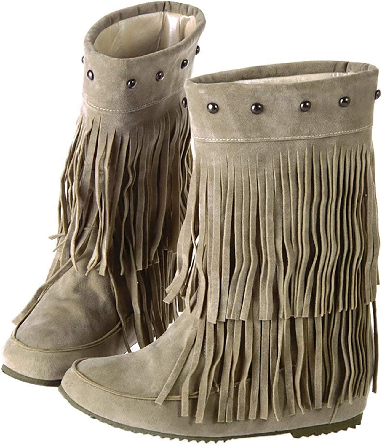 KAOKAOO Suede Fringe Moccasin Boots Mid Calf Women's Round Toe Flat Ladies Winter Fashion Snow Booties