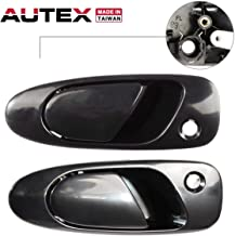 AUTEX 2pcs Exterior Door Handles Front Left Right Driver Passenger Side Compatible with HONDA CIVIC 1992-1995 Replacement for HONDA CIVIC Del Sol 93-97 77748, 77757, 72180-SR3-003, 72180SR3003
