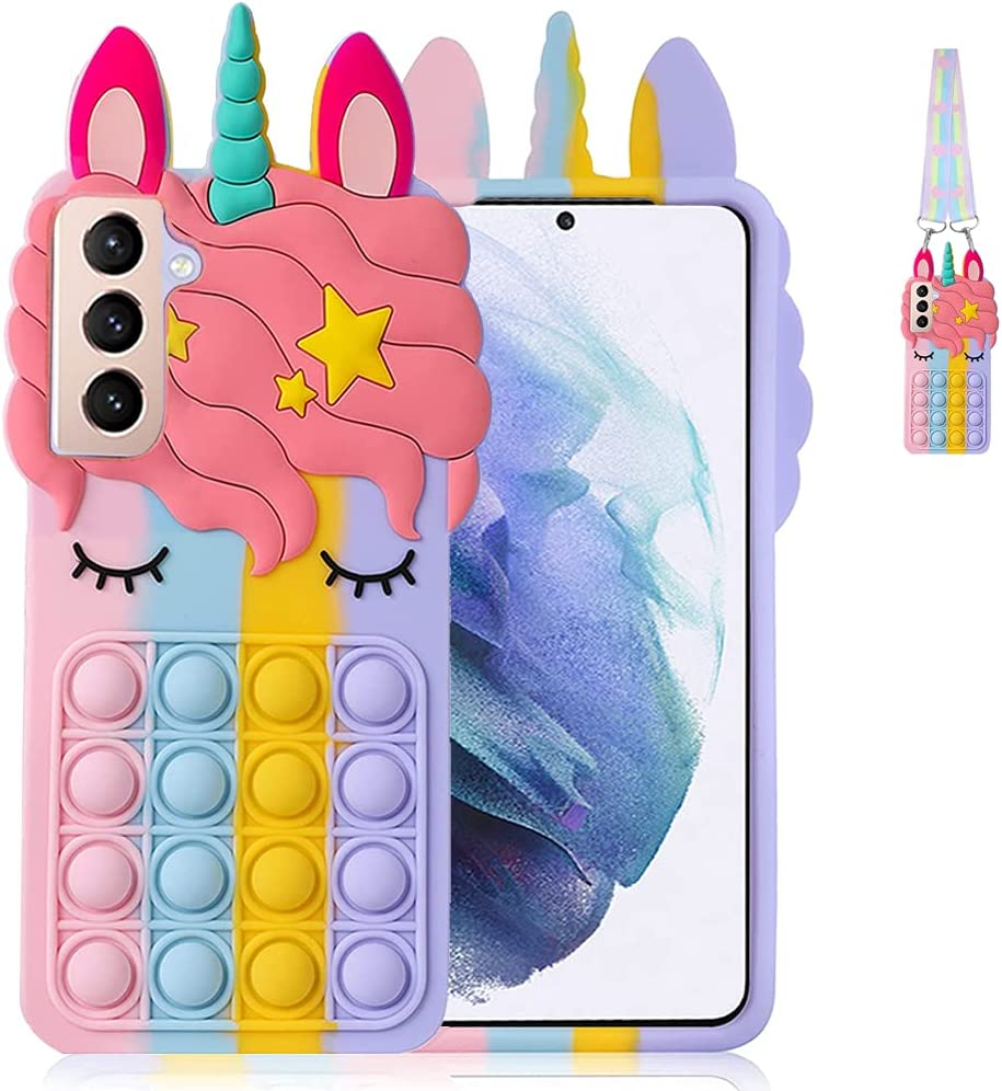 Fidget Toys Stress Relief Phone Case for Samsung Galaxy S21 with Strap,Push Pop Bubble 3D Cartoon Funny Kawaii Cute Silicone Cover for Girls Kids Teen,Protective Aesthetic Color Bubble Case-Rainbow