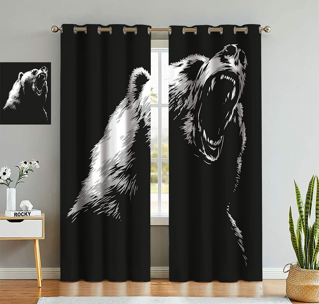 Bear Curtains Sketch Line Sales of SALE items from Max 59% OFF new works Art Style F and Fur Carnivore Roaring