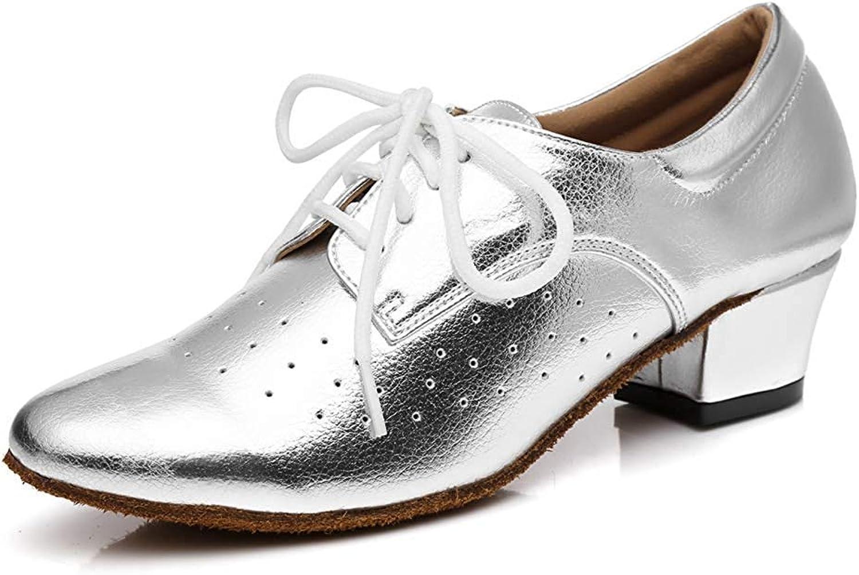 ZHRUI ZHRUI ZHRUI Frauen Lace-up atmungsaktiv Block niedrigen Ferse Ballroom Latin Dance Schuhe Silber UK 6 (Farbe   -, Größe   -)  c3428e