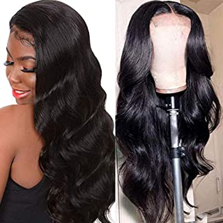 Ucrown Hair Lace Front Wigs Brazilian Body Wave Human Hair Wigs For Black Women 150% Density Pre Plucked with Baby Hair Natural Black (24 inch)