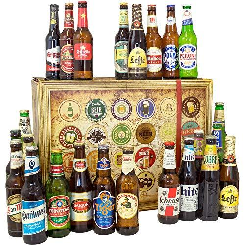 BIERE DER WELT Geschenk Box + 24 Flaschen Bier/Geburtstagsgeschenk für Ihn