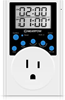 Timer Outlet, Nearpow Multifunctional Infinite Cycle Programmable Plug-in Digital Timer Switch with 3-Prong Outlet for Appliances, Energy-Saving Timer, 15A/1800W