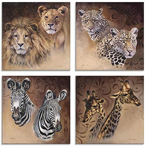 Artland Glasbilder Wandbild Glas Bild 4er Set 4 teilig je 30x30 cm Quadratisch Afrika Tiere Löwe Leopard Zebra Giraffe S7EZ