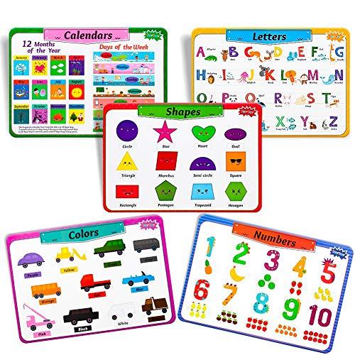 teytoy Tischsets Abwaschbar Kinder, Platzset rutschfest Pädagogische Platzdeckchen: Alphabet, Formen, Farben, Zahlen, Kalender, frei von BPA- kinderfreundlichem Design Bunt, 5PCS