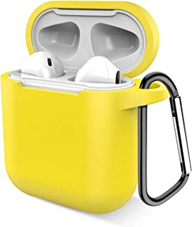 Airpods Case, Music tracker Protective Thicken Airpods Cover Soft Silicone Chargeable Headphone Case with Anti-Lost Carabiner for Apple Airpods 1&2 Charging Case (Yellow)