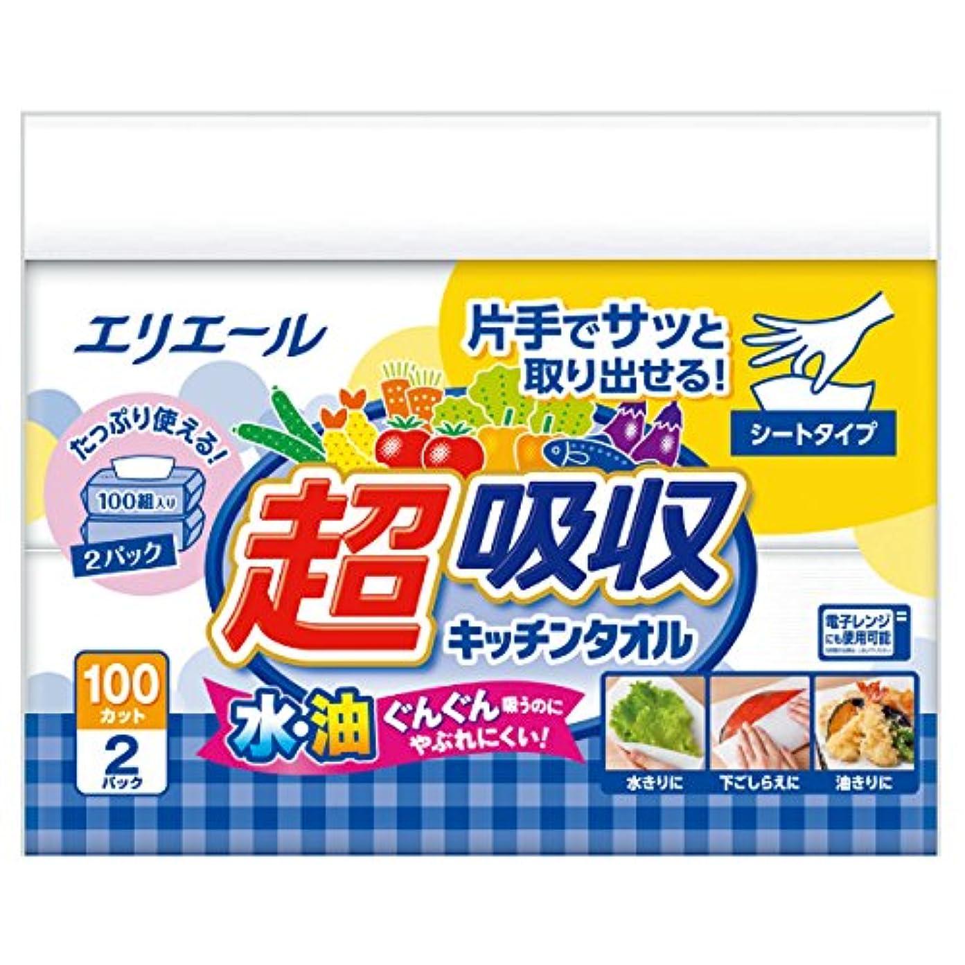 フィッティング亜熱帯ほうきエリエール キッチンペーパー 超吸収 キッチンタオル シートタイプ 100組×2パック パルプ100%